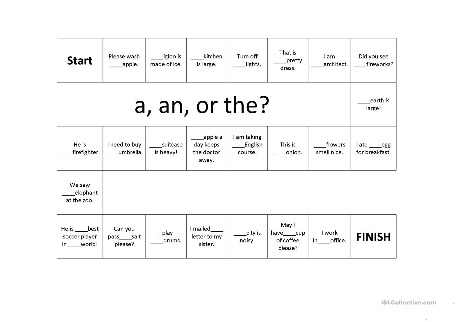 Article A An And The Game Board Worksheet