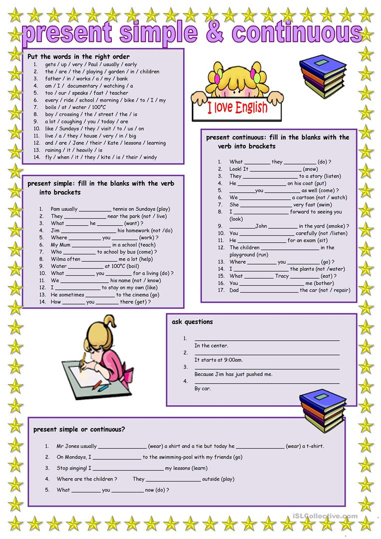 Simple Present Worksheets And Continuous