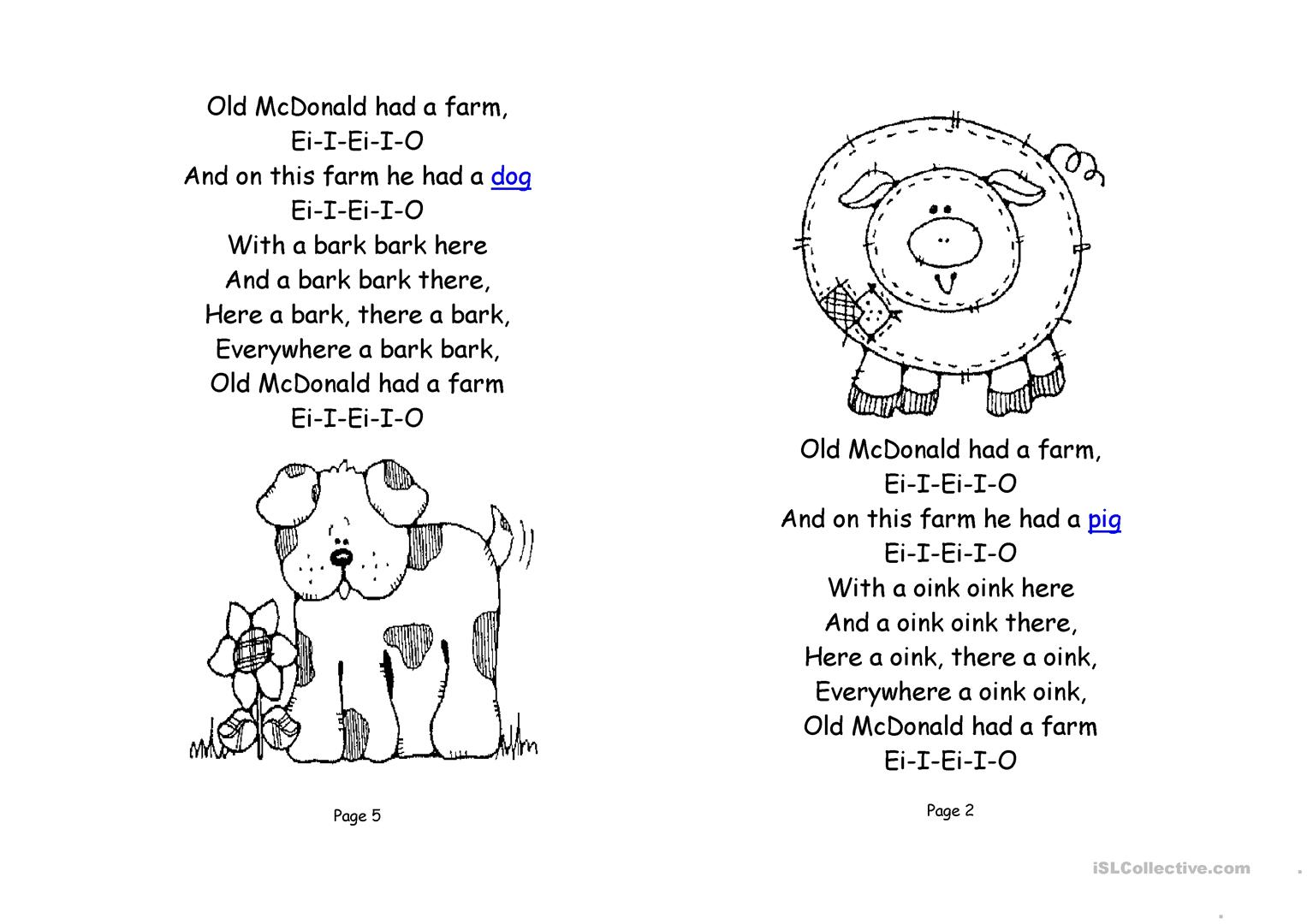 Old Mcdonald Had A Farm Book Worksheet