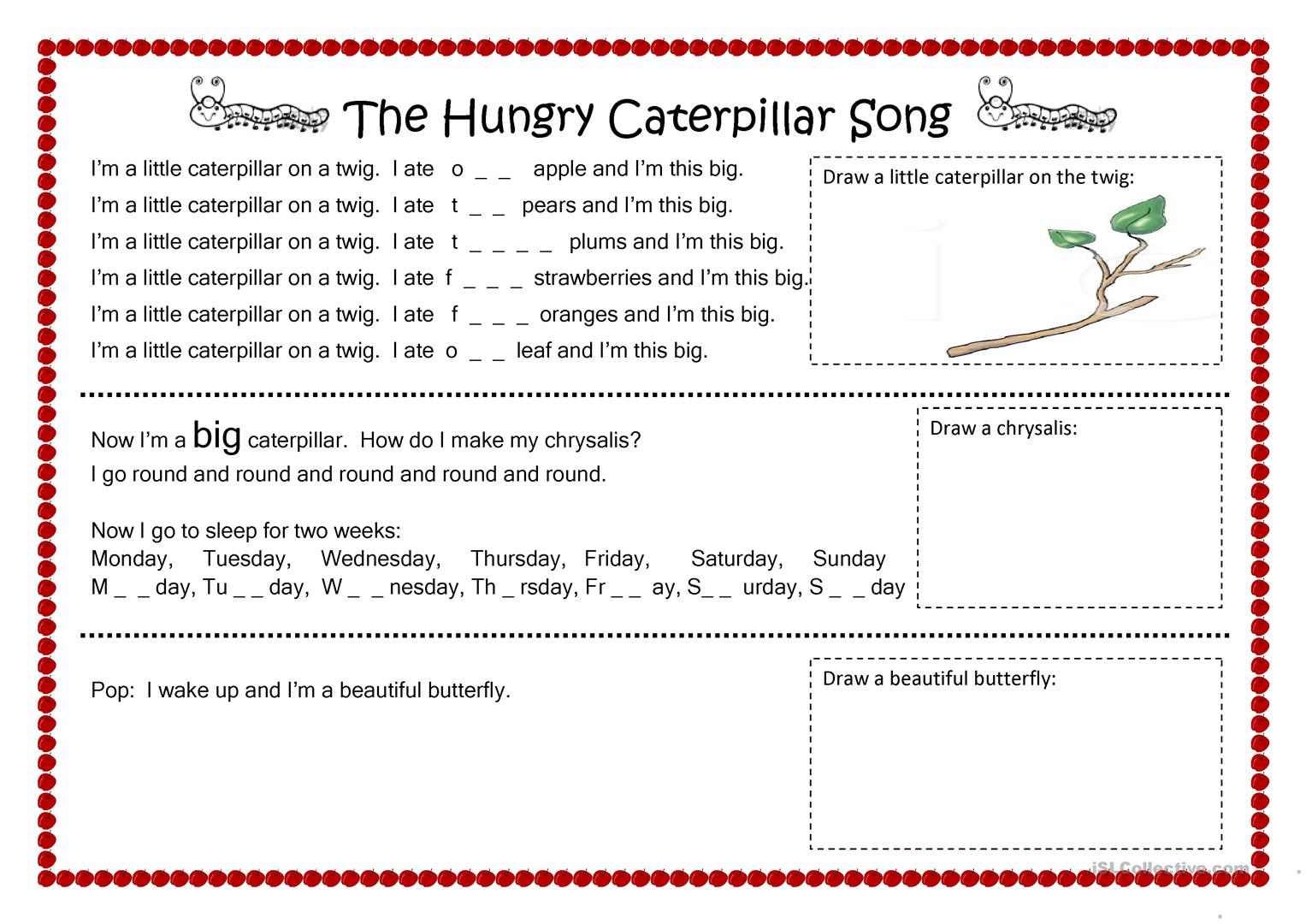 Worksheets Very Hungry Caterpillar Worksheets Cheatslist