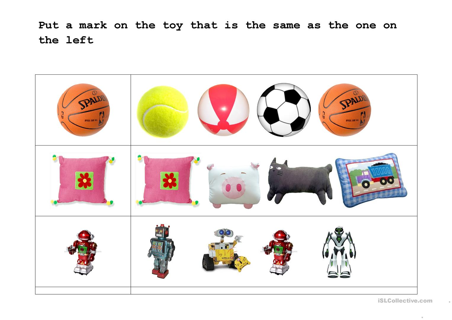 Find The Identical Toy Worksheet