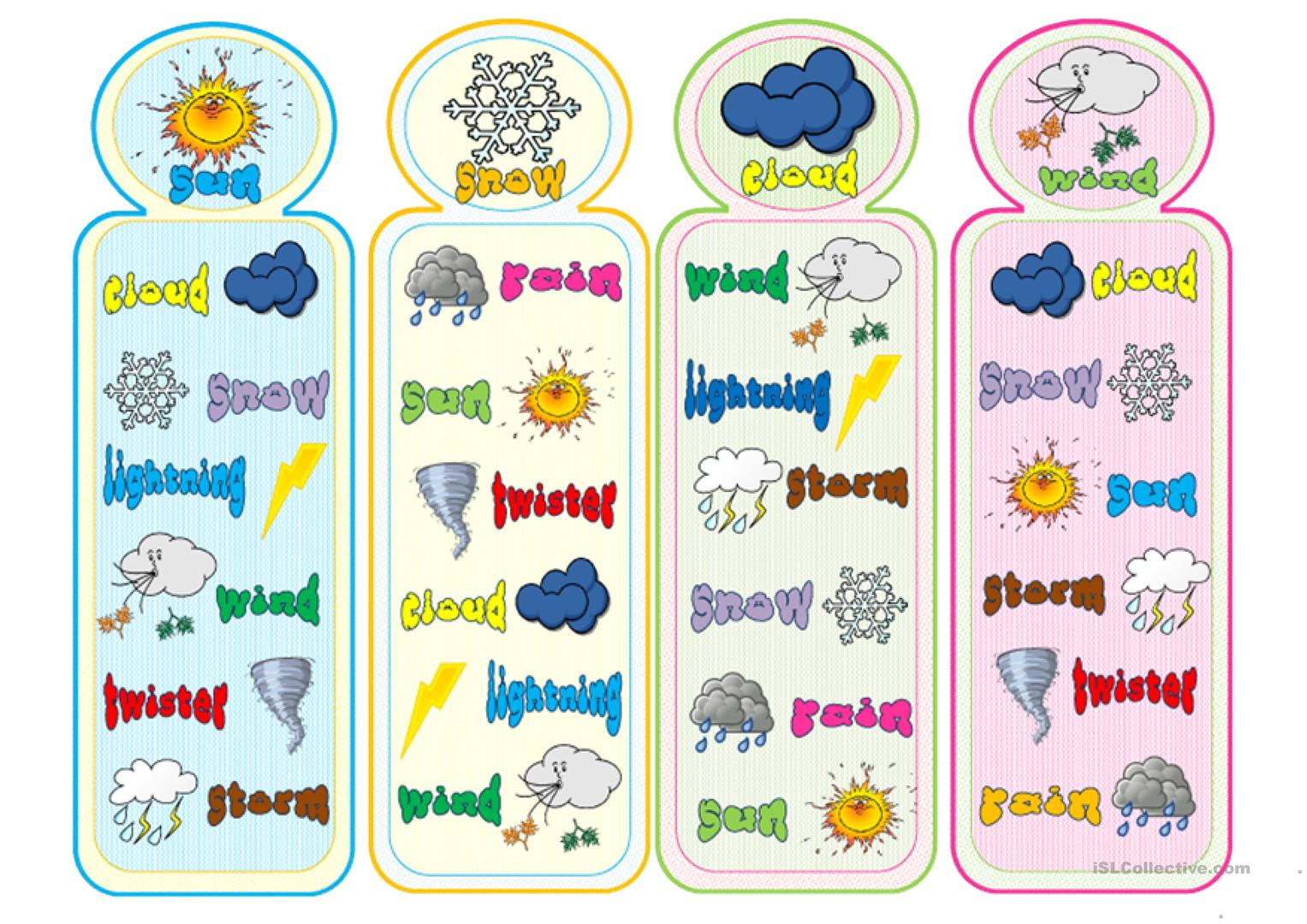 Weather Bookmarks Worksheet