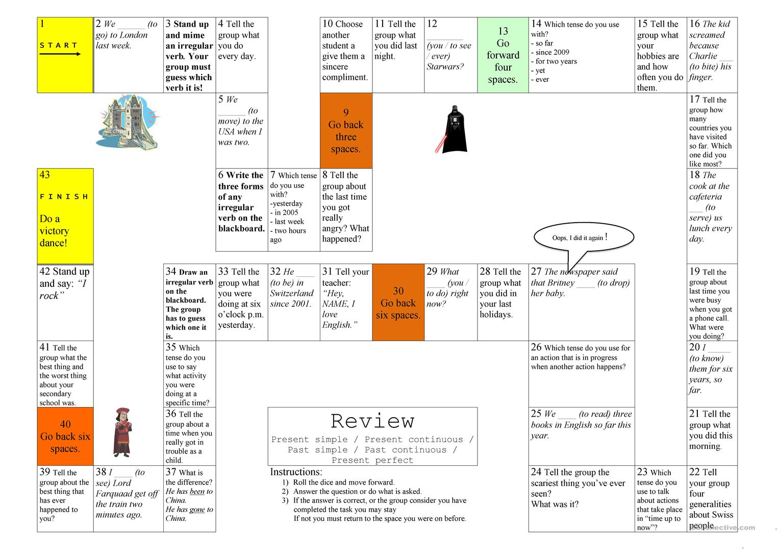 Board Game Present And Past Tenses Worksheet