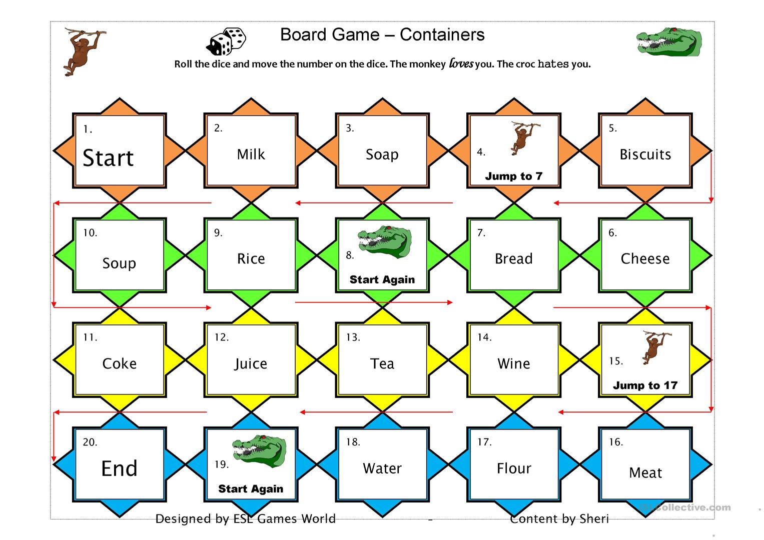 Boardgame Count Uncount Worksheet