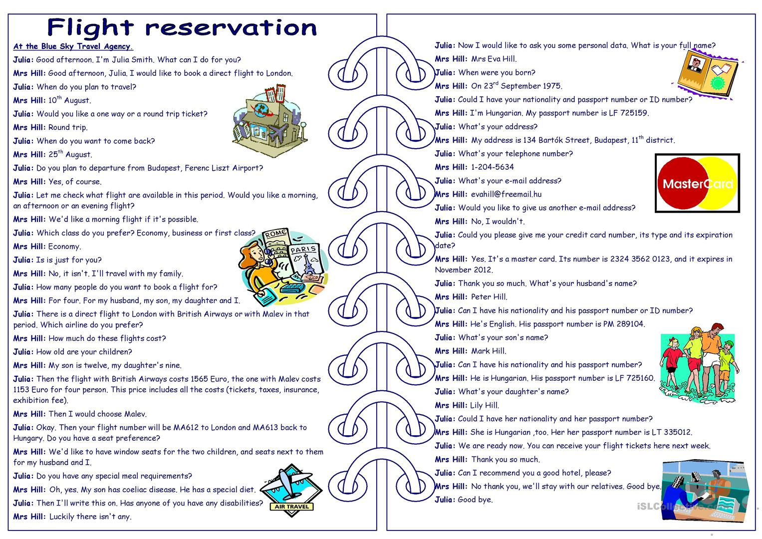 Flight Reservation Role Play Part 1 2 Worksheet