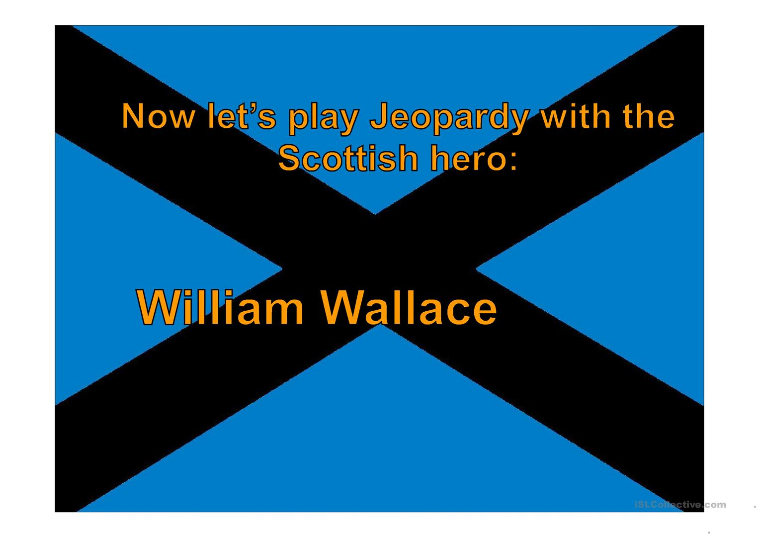 Jeopardy William Wallace Worksheet