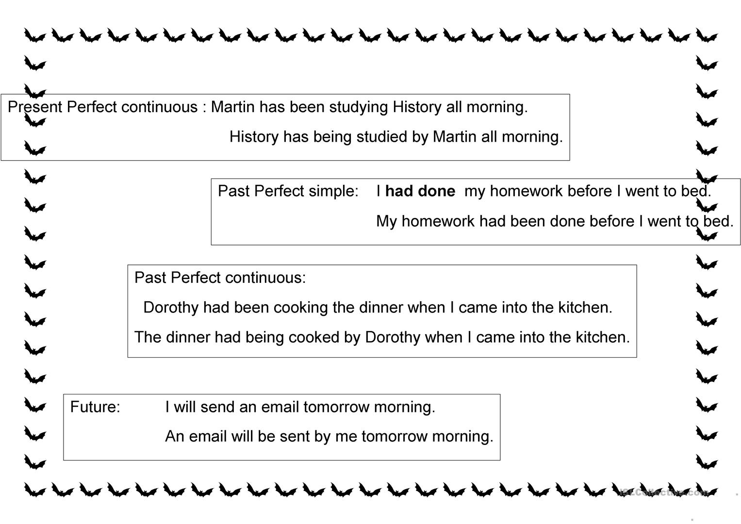 Passive Voice Tenses And Formation Worksheet