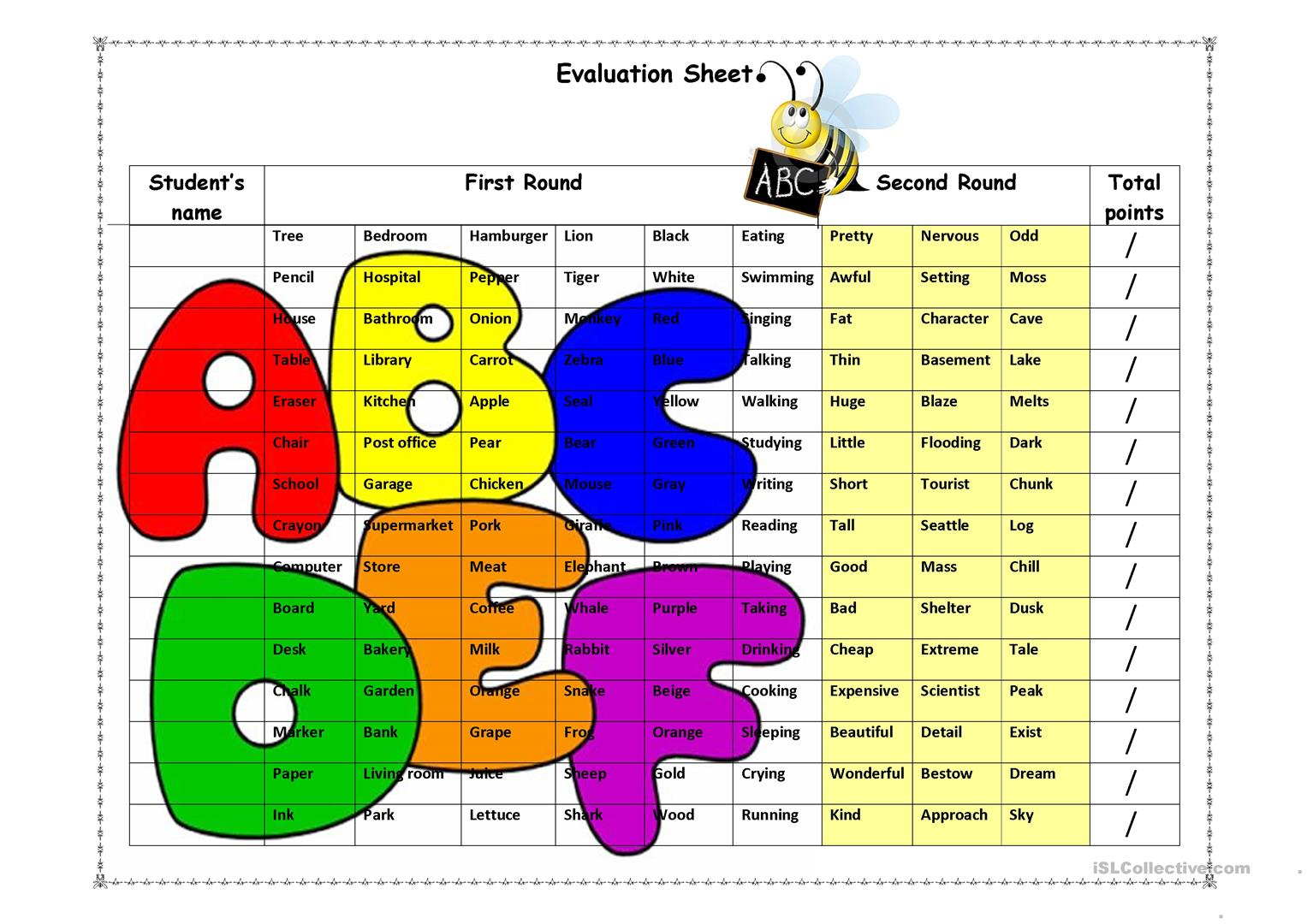 Spelling Evaluation Sheet Worksheet