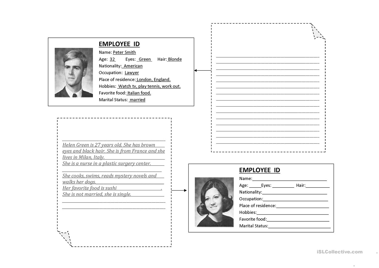 Third Person Singular Personal Information Worksheet