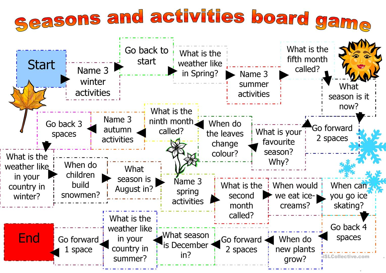 Board Game For Seasons And Activities Worksheet