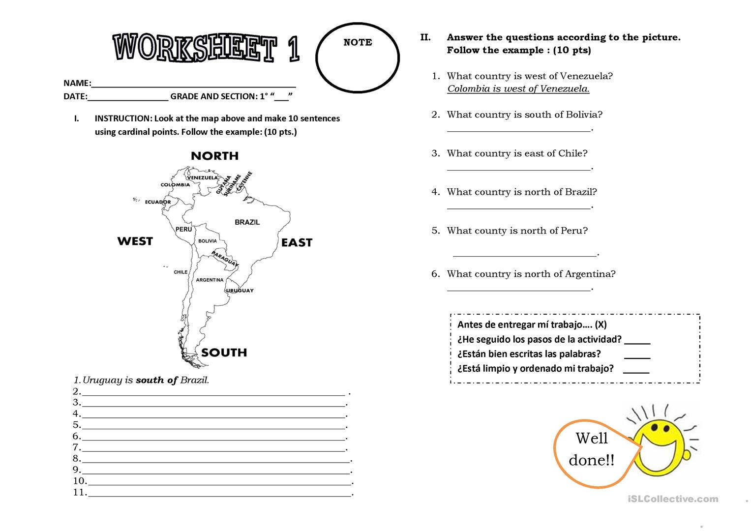 Cardinal Points Worksheet