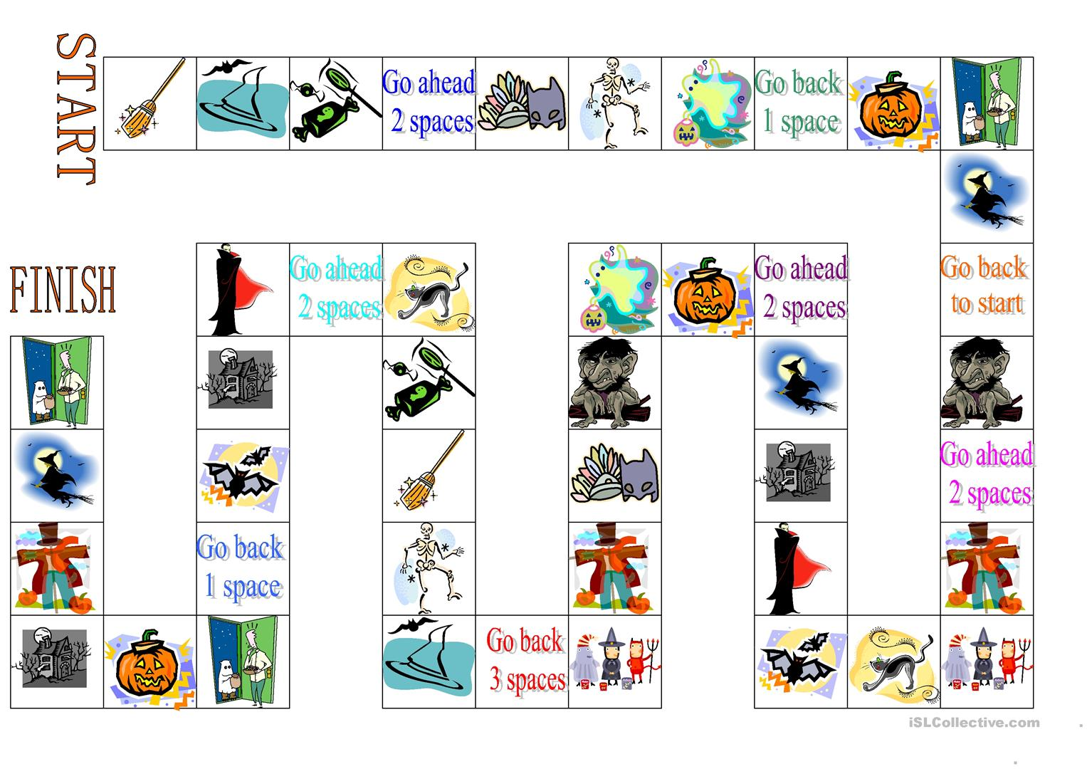 Halloween Board Game Worksheet