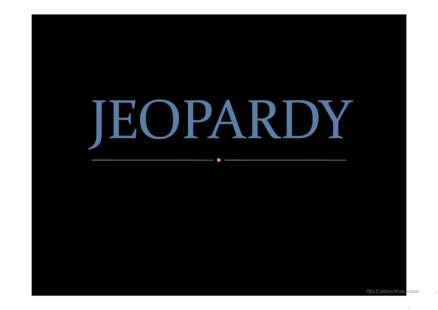 Jeopardy Game Worksheet