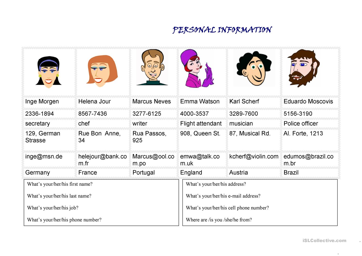 Personal Information Worksheet