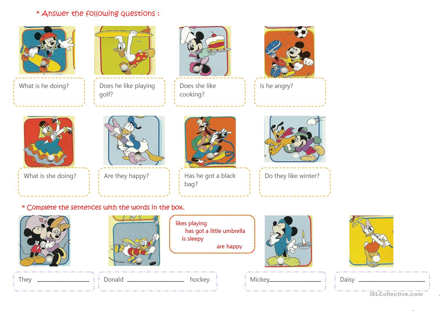 Present Simple Mickey And His Friends Worksheet