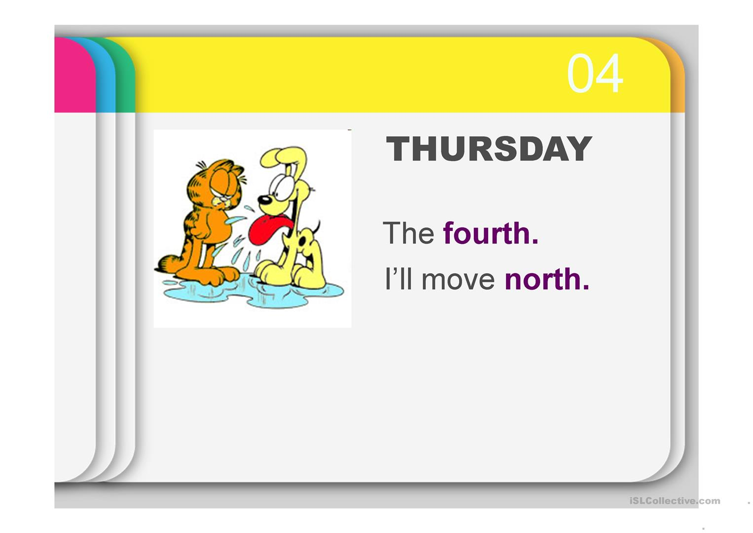 Rhyme On Days Of The Week Amp Ordinal Numbers With Garfield