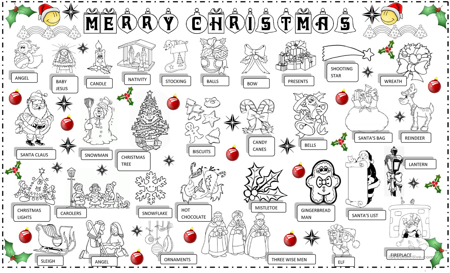 Christmas Pictionary Worksheet