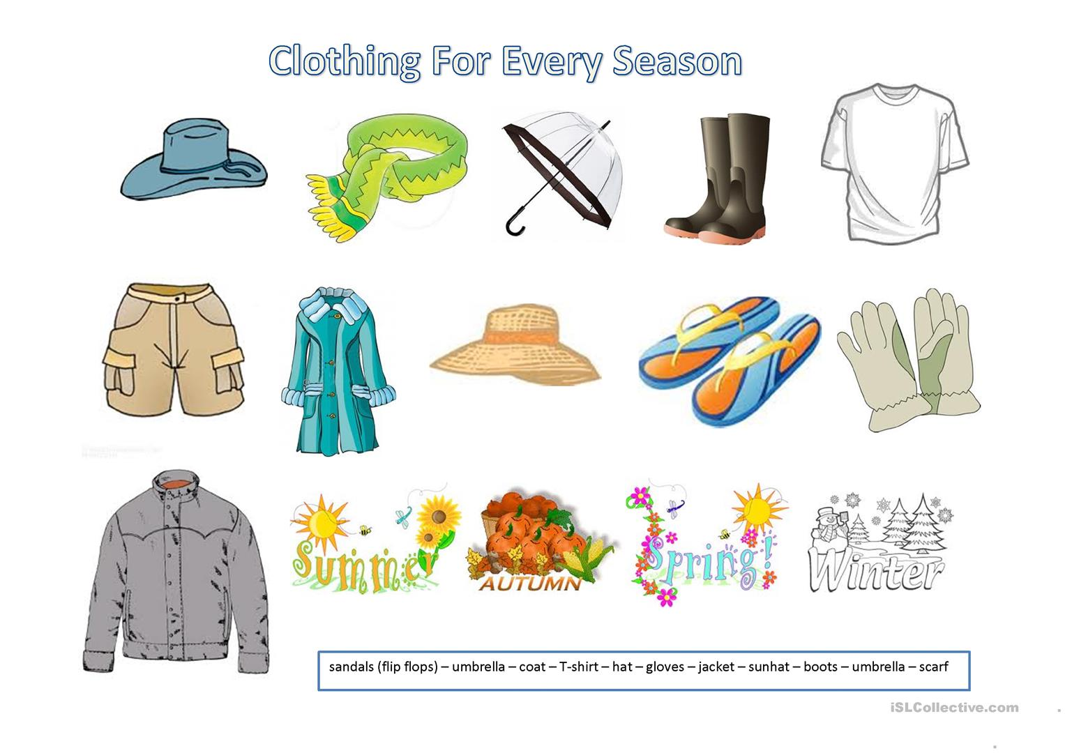 Clothing For Every Season Worksheet
