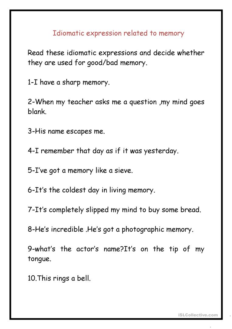 Idiomatic Expressions Related To Memories