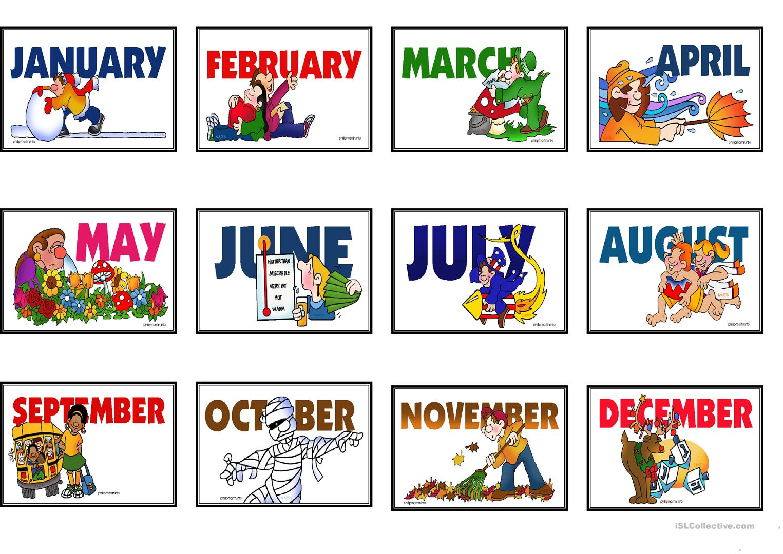 Speaking Matching Months And Days Game Cards Fully