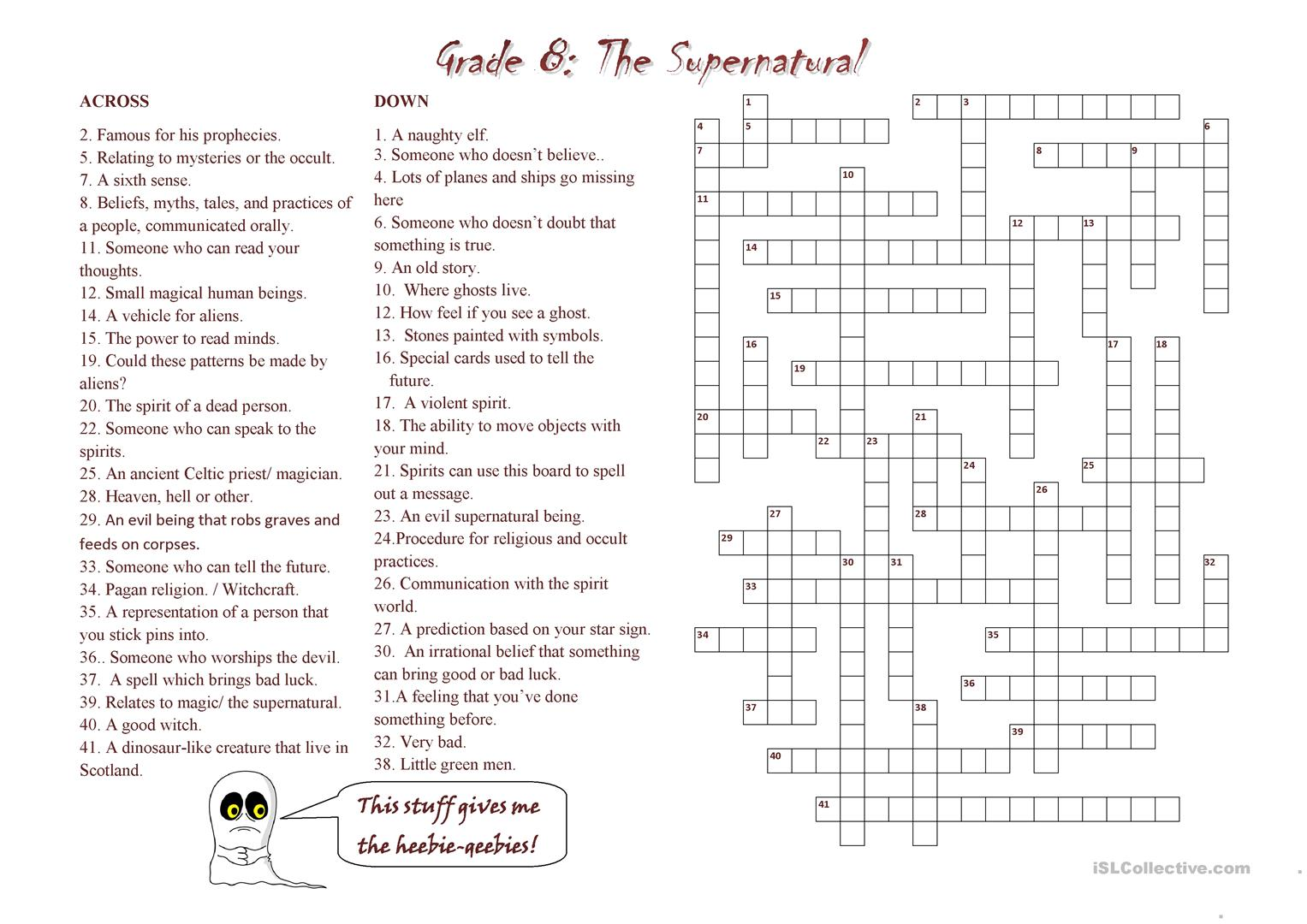 Supernatural Crossword Worksheet