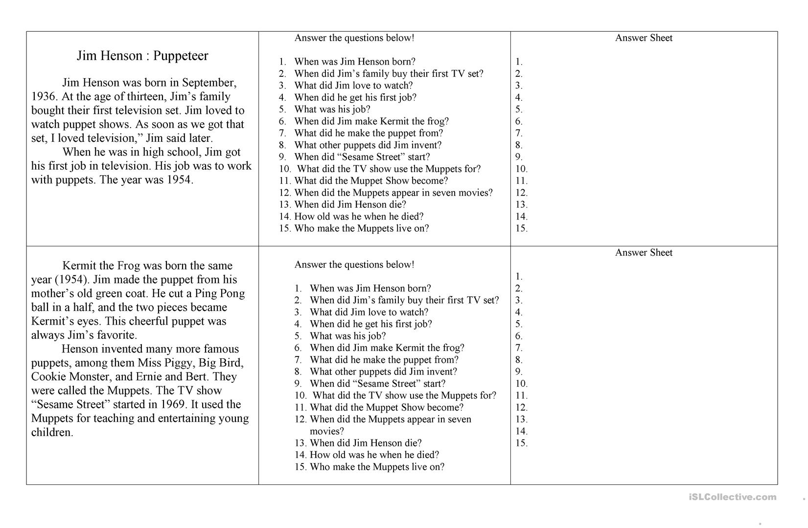 Famous People Worksheet