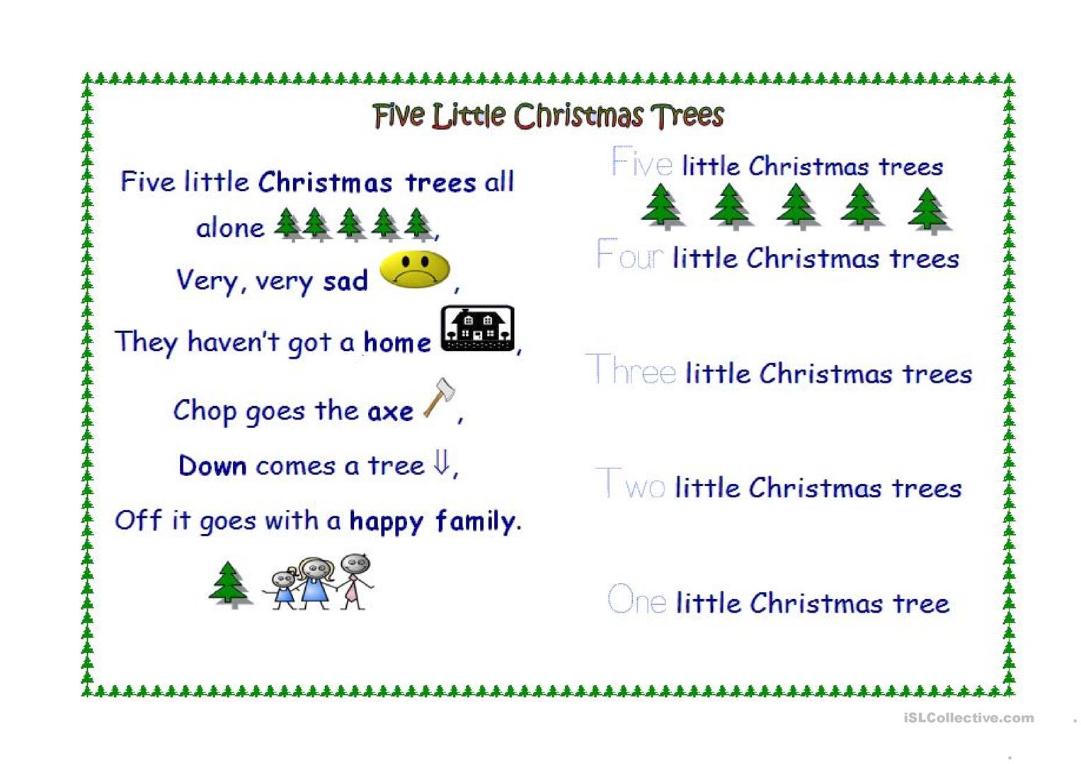 Five Little Christmas Trees Worksheet