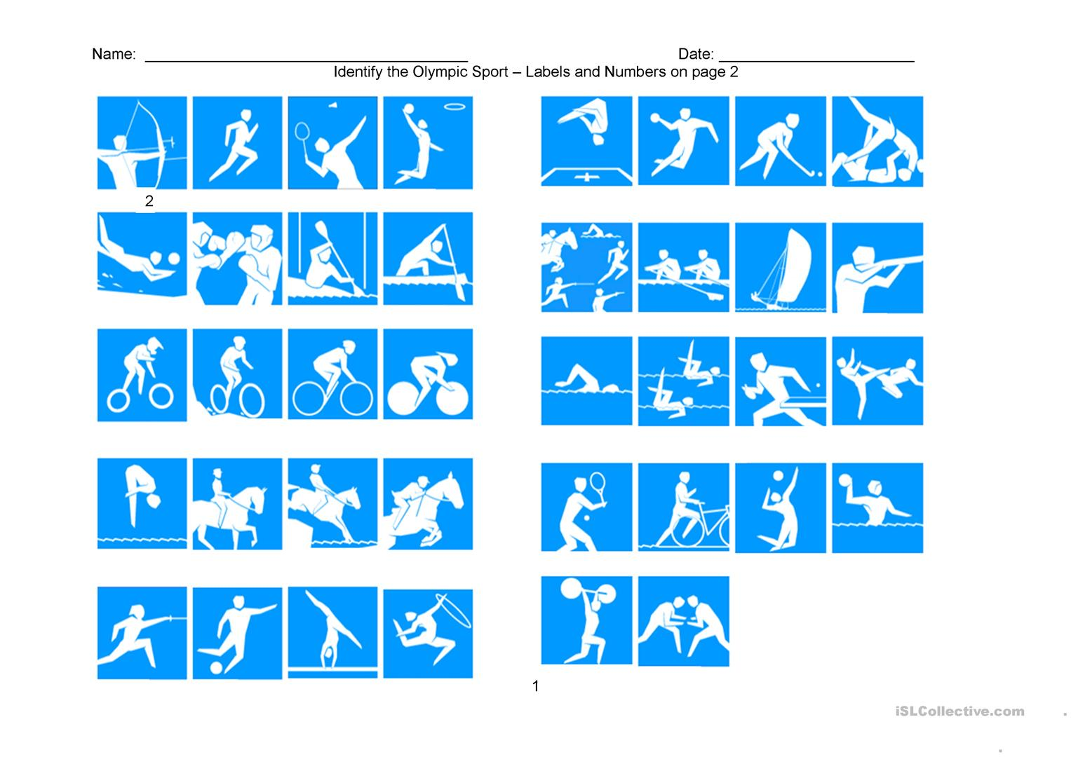 Olympic Sports Matching Worksheet