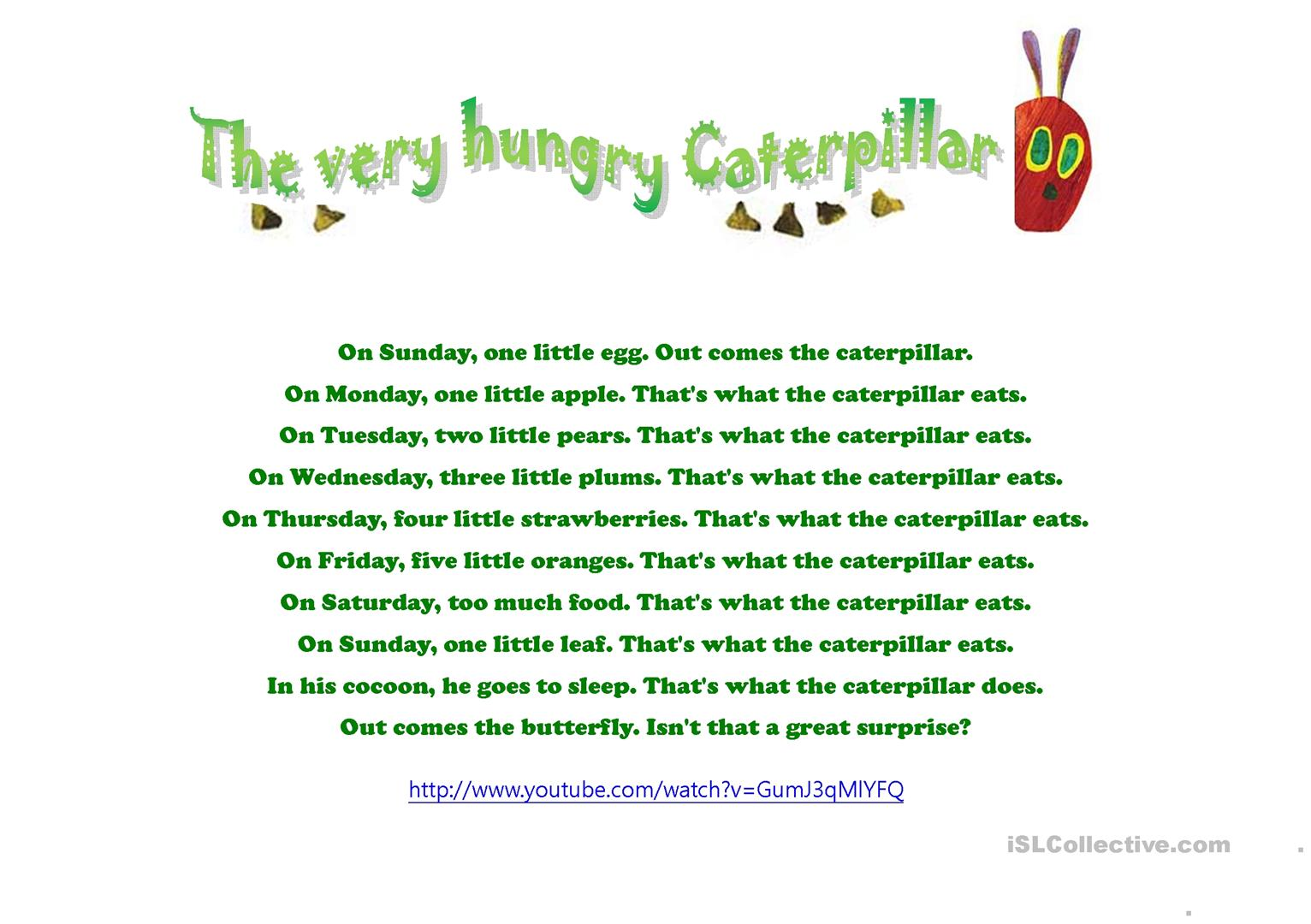 The Very Hungry Cartapillar Song Worksheet