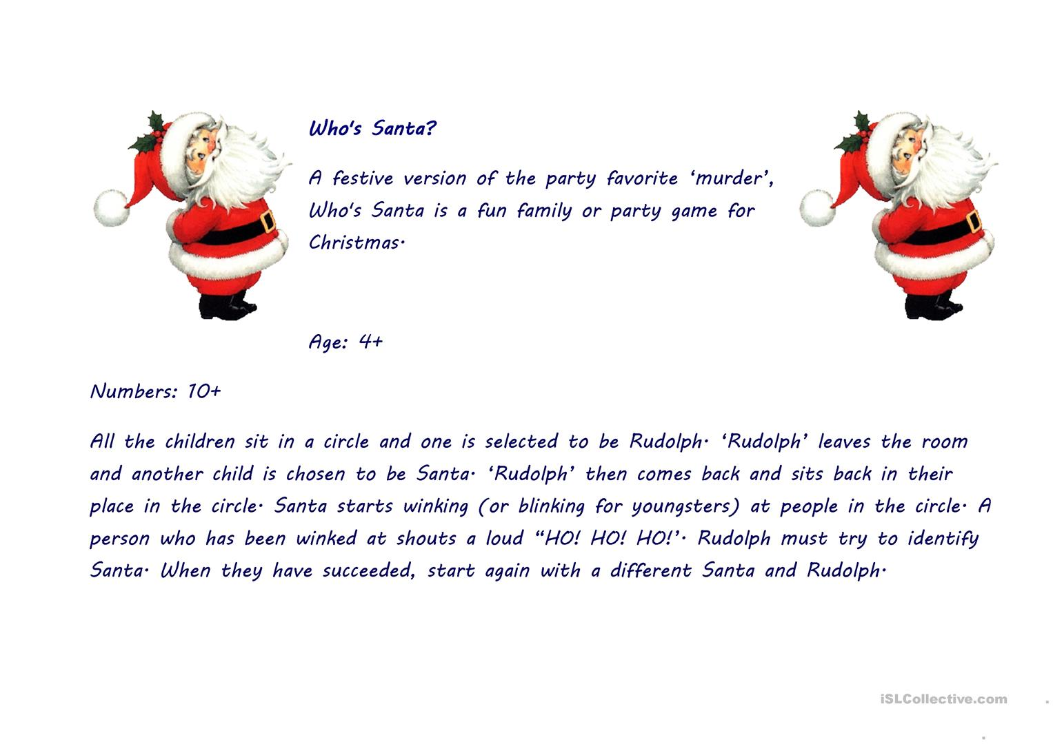 Who S Santa Worksheet