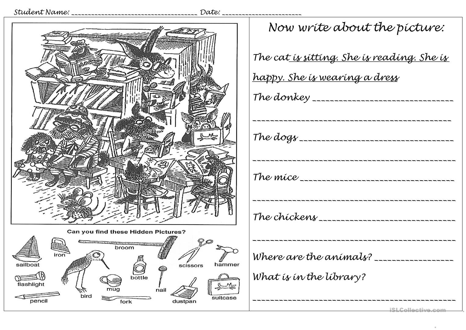 Animals In The Library Worksheet