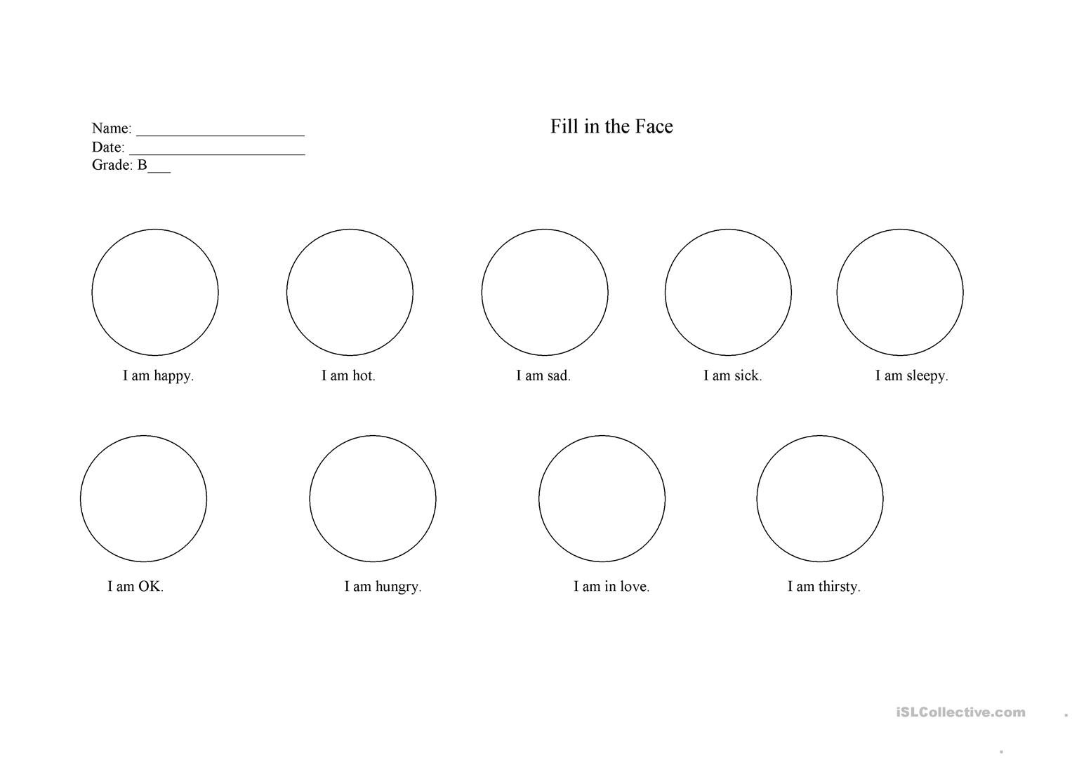 Fill In The Face Worksheet