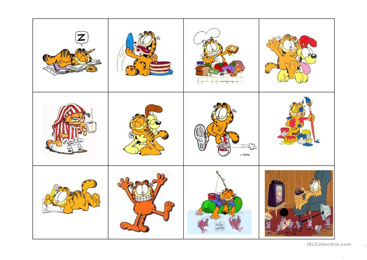 Garfield Actions Worksheet