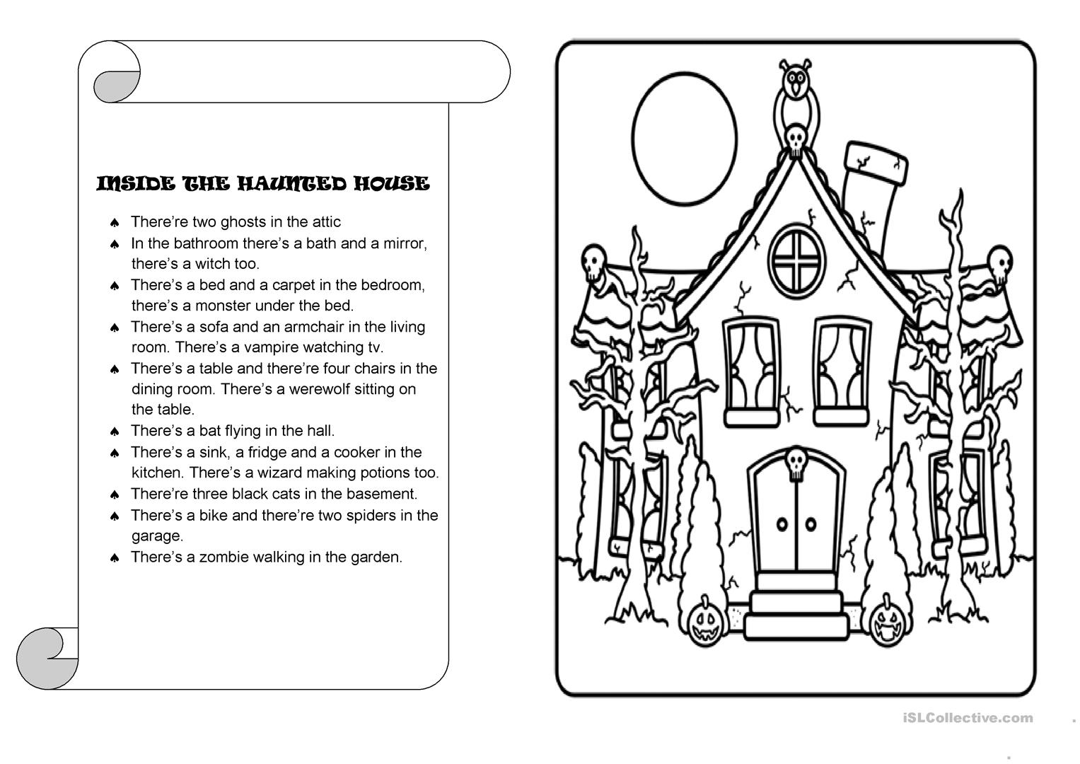 Inside The Haunted House Worksheet