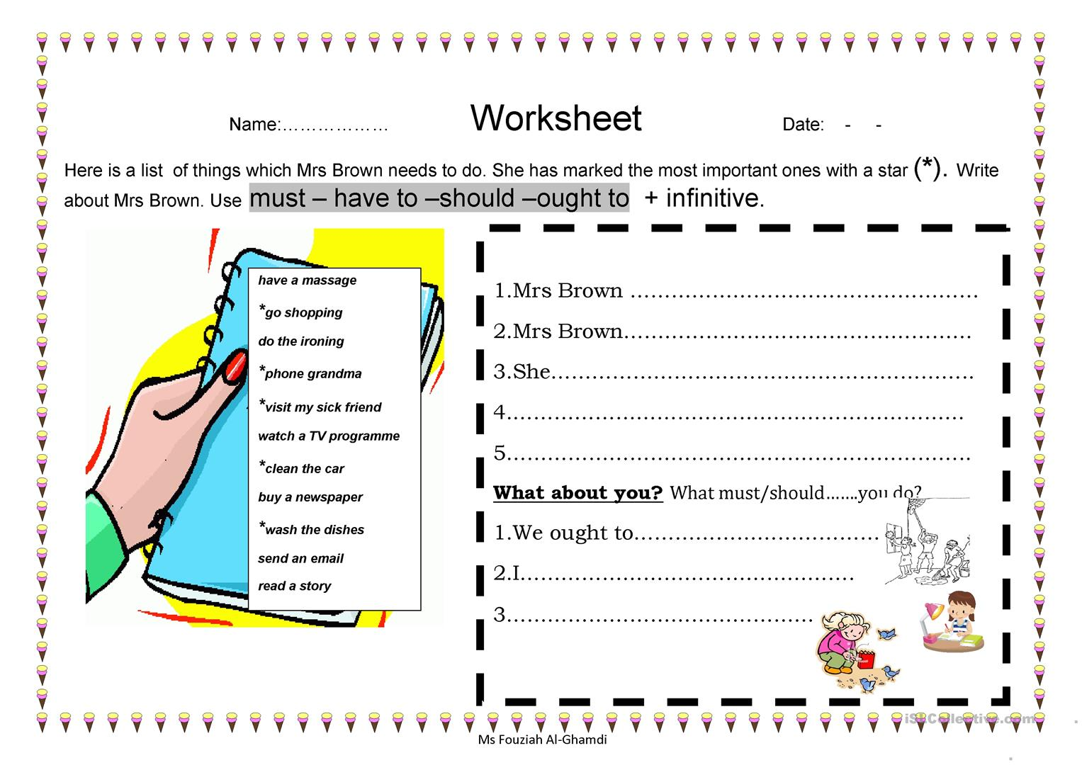 Mrs Brown List Worksheet