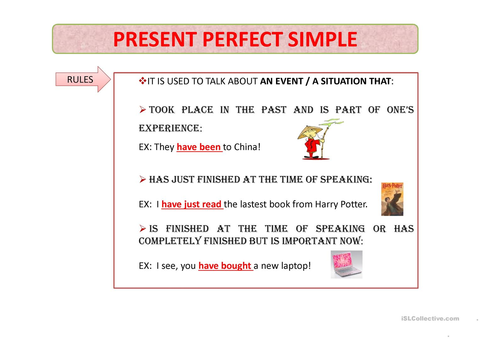 Present Perfect Simple Worksheet