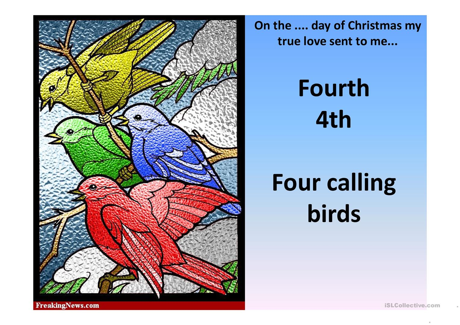 The Twelve Days Of Christmas Sing Along Worksheet