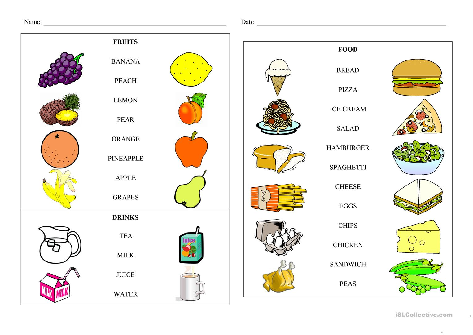 Games Worksheet Foods