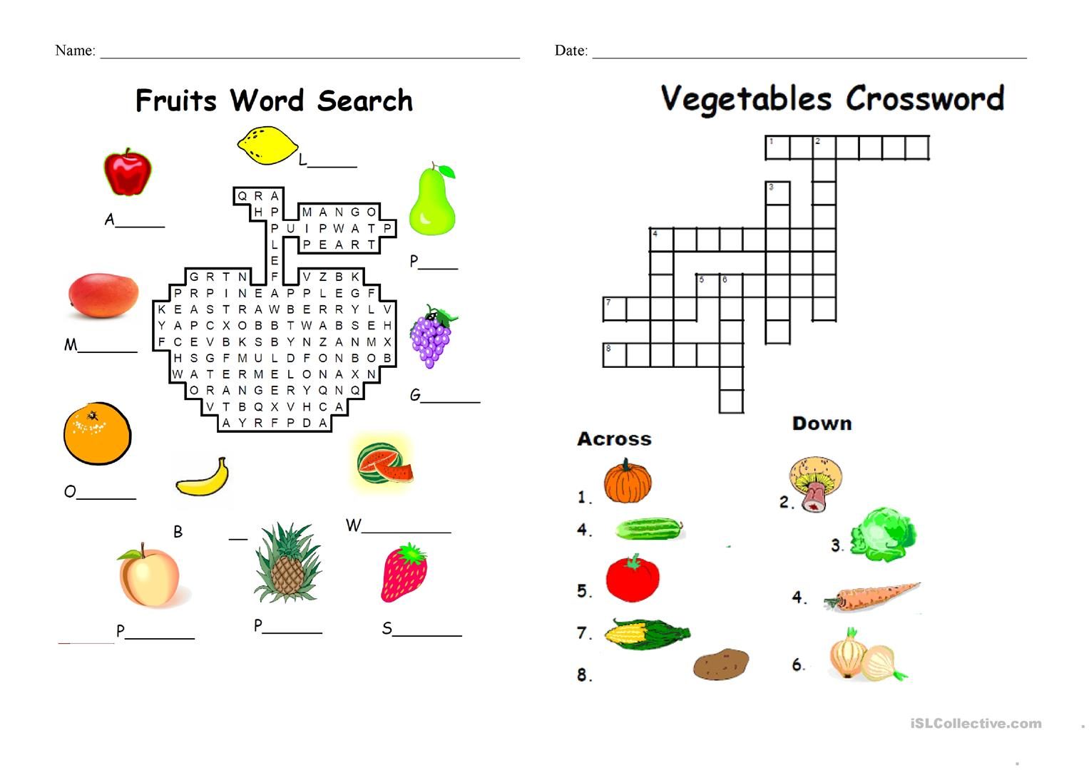 Food And Fruit Matching Worksheet