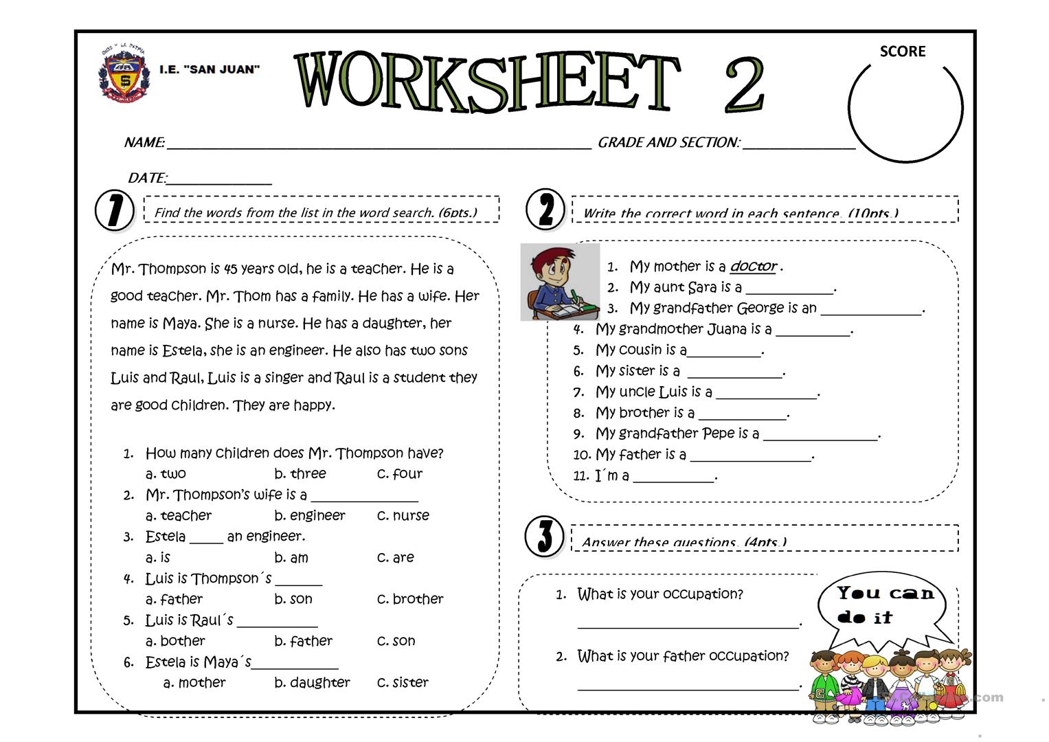 85 Jobs Worksheet For Grade 2