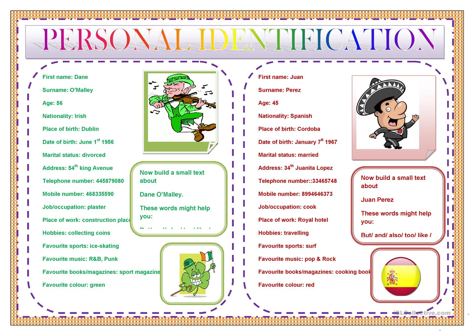 Personal Identification Worksheet