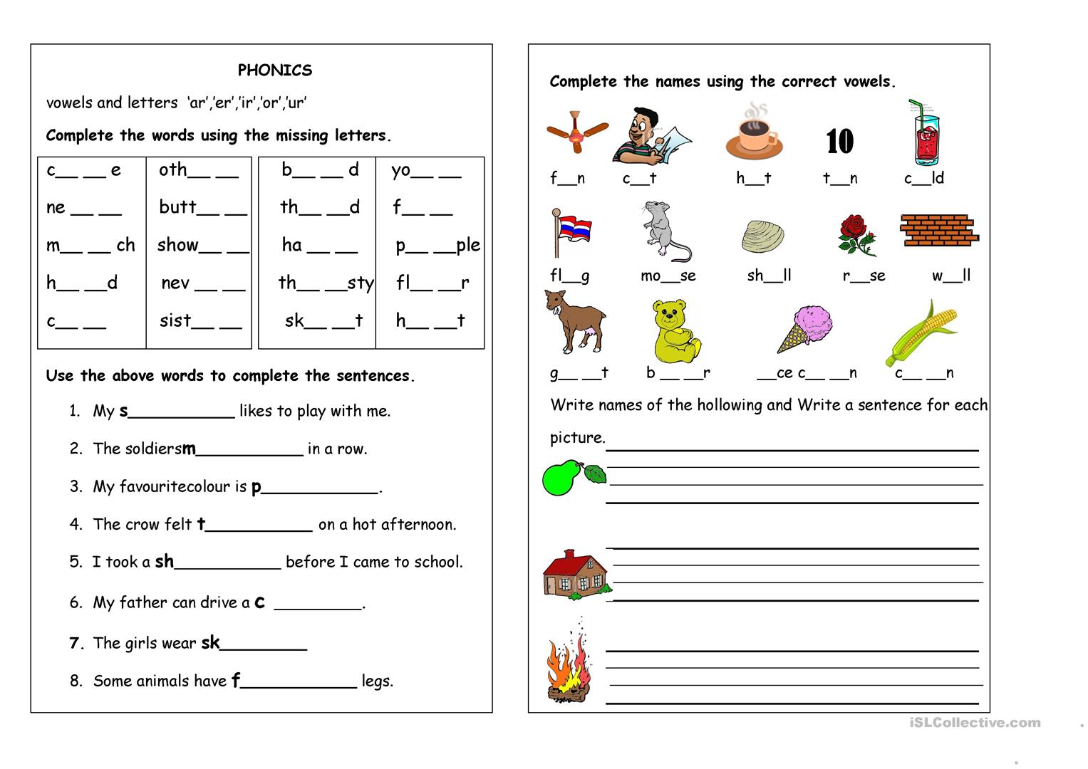 Free Elementary Phonics Worksheet