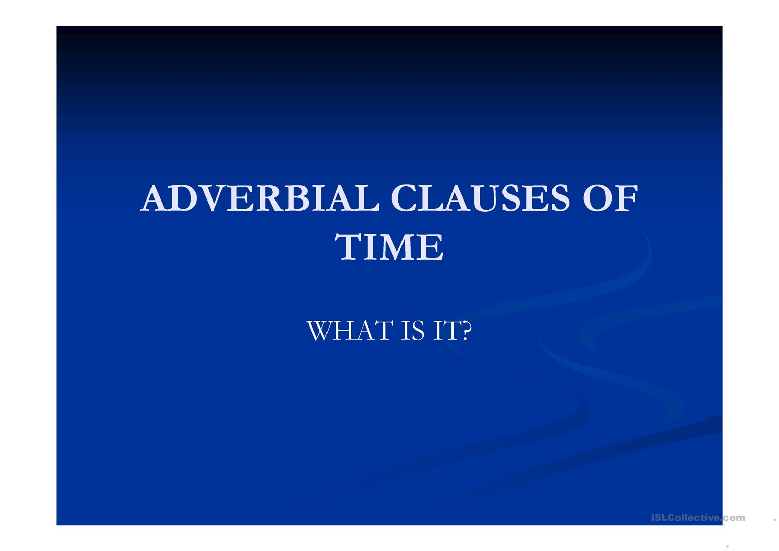 Adverbial Clause Worksheet