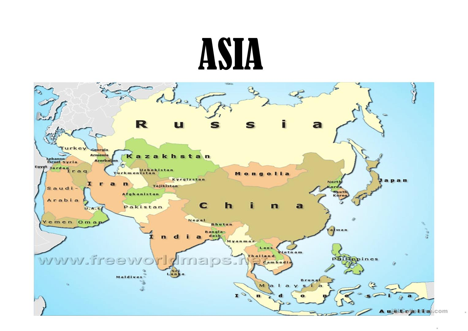 Countries In Asia Worksheet