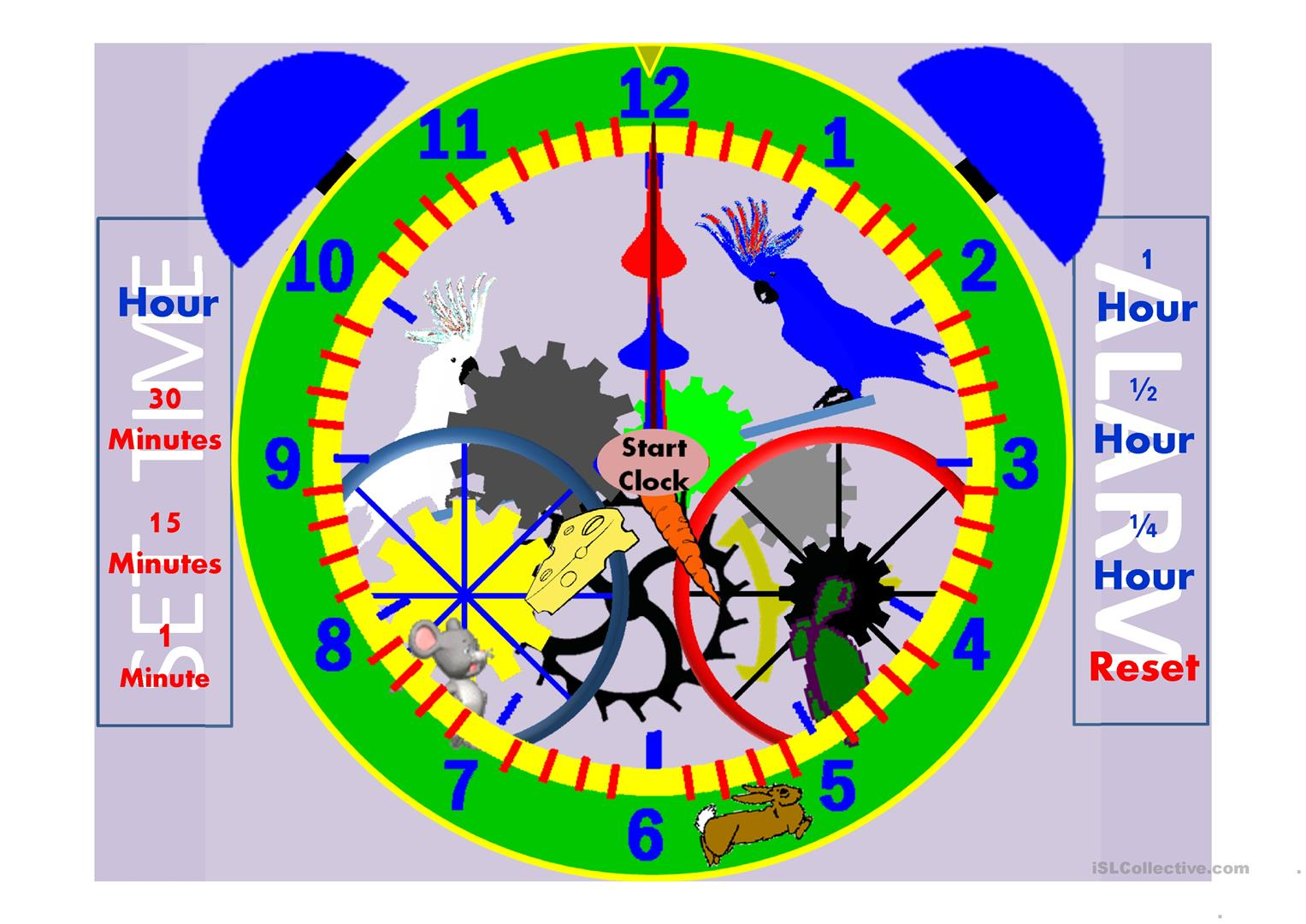 Fully Functional Setable Animated Clock Worksheet