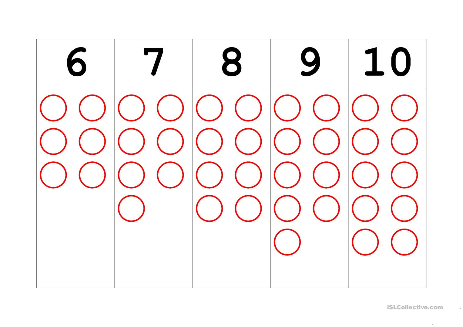 Montessori Counters And Number Cards Worksheet