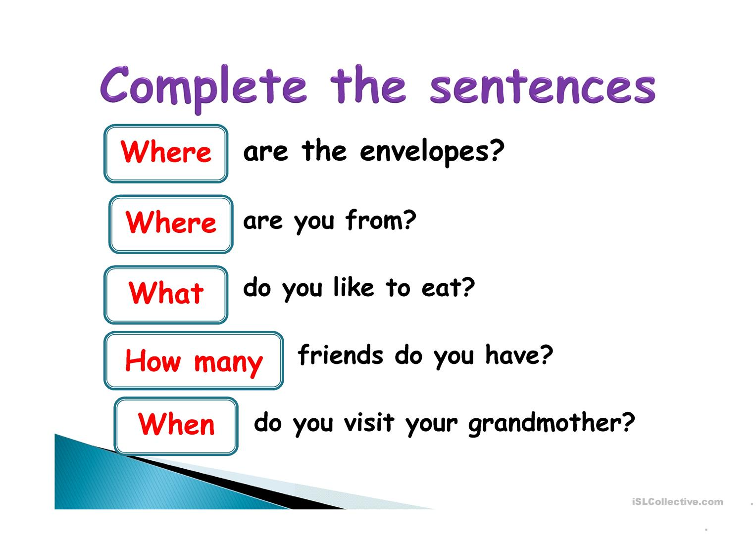 Ppt Special Questions Worksheet