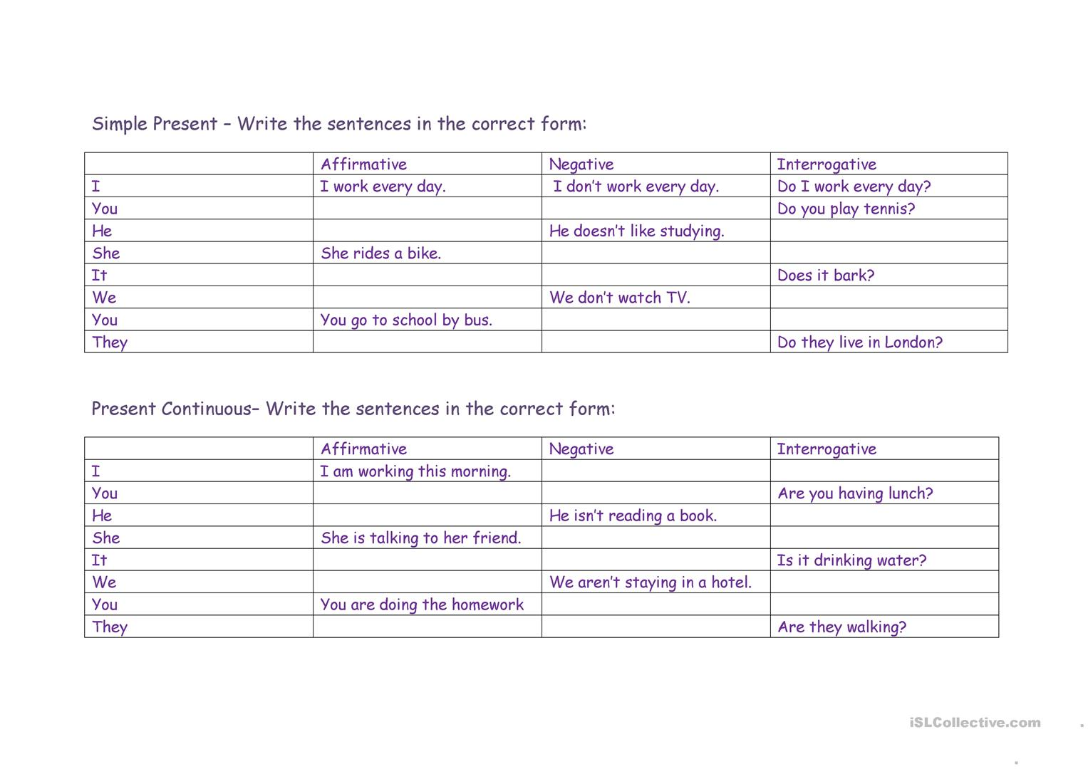 Present Simple Present Cont Worksheet