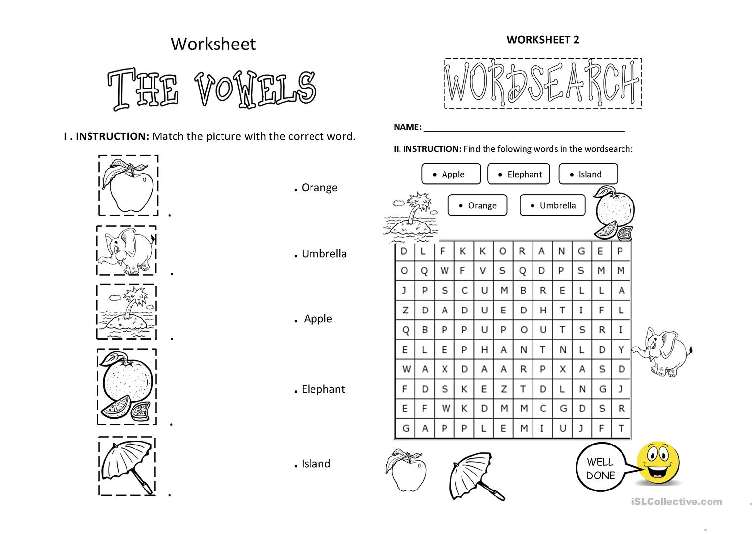 Esl Worksheets On Vowels And Constanants