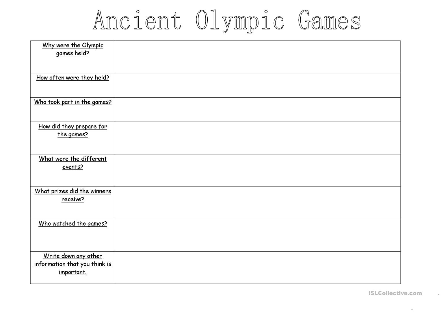 Ancient Olympics Worksheet